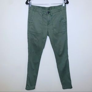 Cabi Olive Green Soft Chino Ankle Pants